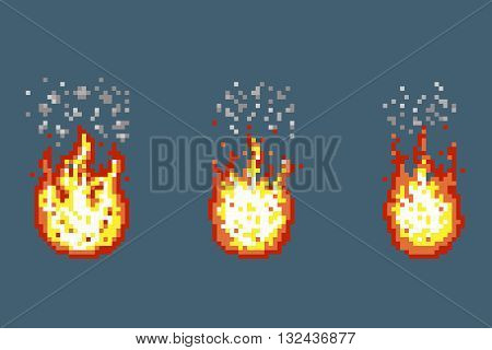 Flame with smoke animation frames in pixel art style. Smoke and flame pixel, game fire and smoke, retro graphic fire smoke animation. Vector illustration
