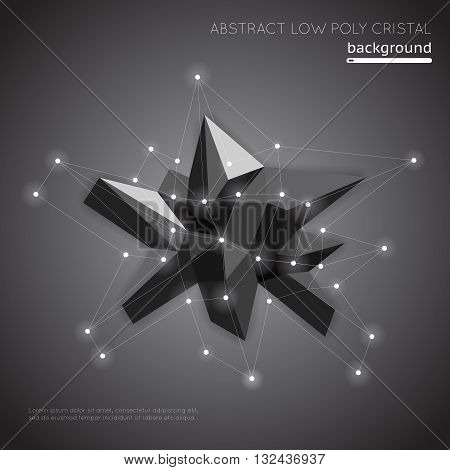 Abstract low poly crystal background. Low polygon geometry vector shape. Geometry polygon low poly, geometric low poly crystal, poly low construction illustration