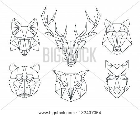 Low poly animals heads. Triangular thin line animals vector set. Animal geometric head, icon animal polygon, polygonal animal tattoo illustration poster