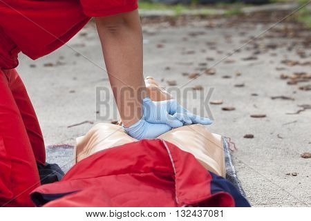 First aid training detail. Cardiopulmonary resuscitation (CPR). Chest compression. poster