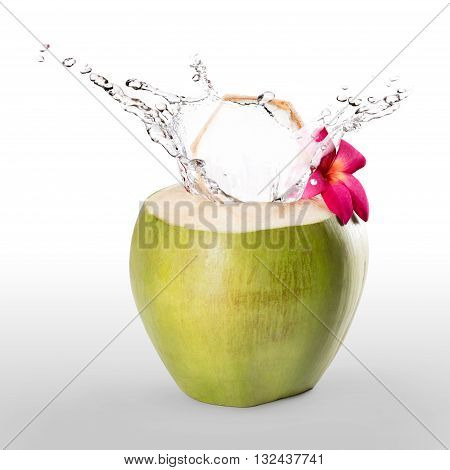 Green coconut with water splash isolated on grey background