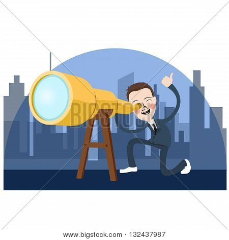 business man looking into telescope search oportunity vector