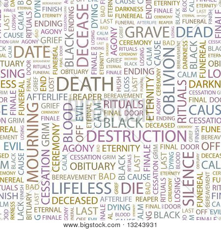 DEATH. Seamless vector pattern with word cloud. Illustration with different association terms.