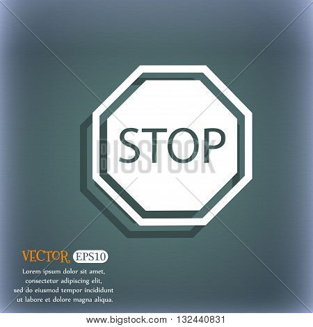 Stop Icon. On The Blue-green Abstract Background With Shadow And Space For Your Text. Vector