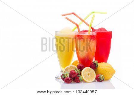 Lemon and strawberry Granita slush refreshment