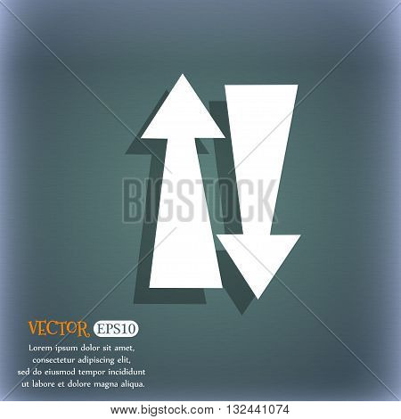 Two Way Traffic, Icon. On The Blue-green Abstract Background With Shadow And Space For Your Text. Ve