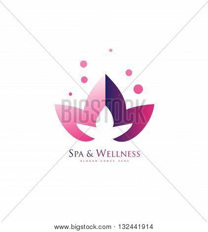 Vector company logo icon element template spa wellness beauty salon lotus flower pink