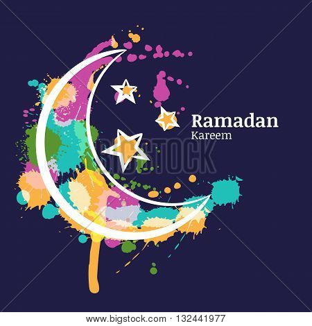 Ramadan Greeting Card With Watercolor Decorative Moon And Stars On Blue Night Sky. Ramadan Kareem. D