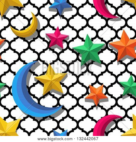 Vector Seamless Arabic Pattern With 3D Stylized Multicolor Moon And Stars. Arabesque Ornaments For R
