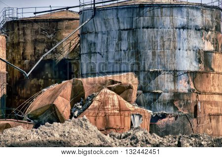 FREDERICIA DENMARK - APRIL 22 2016: Part of harbor after a fire in a tank with palm oil February 3. and 4. 2016 Fredericia Denmark.
