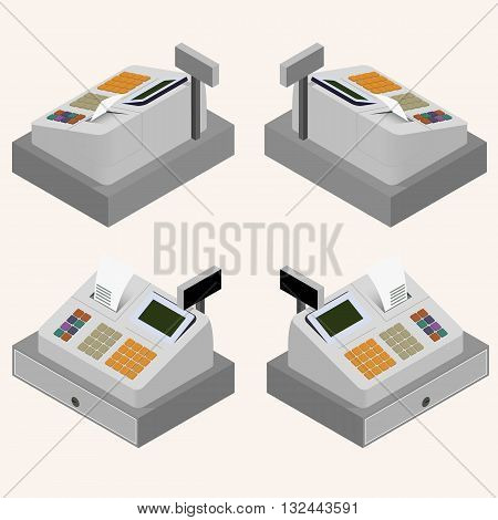 Cash register. Flat isometric. A cash register machine. Printing of cash receipt. Registration purchase. The circulation of money. Cash revenue. Vector illustration.