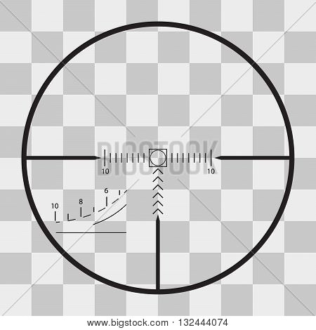 Vector sniper black finder target illustration bull eye on transparent background
