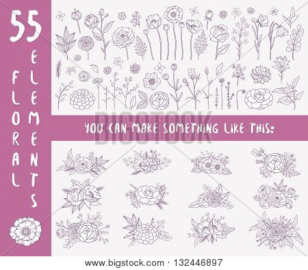 Floral set. Collection of 55 floral elements and 12 compositions of different flowers. Hand drawn floral elements. Floral decor for your spring summer design. Bohemian collection. Vector illustration