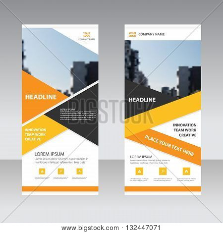 Orange yellow Business Roll Up Banner flat design template Abstract Geometric banner template Vector illustration set abstract presentation template