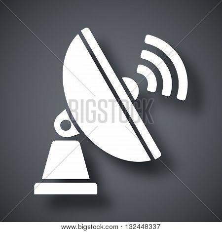Vector Satellite Antenna icon. Satellite Antenna simple icon on a dark gray background