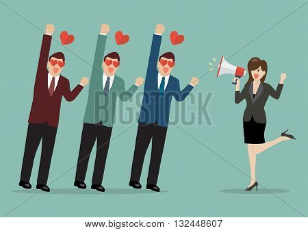 Business woman with a megaphone leading the business. business concept