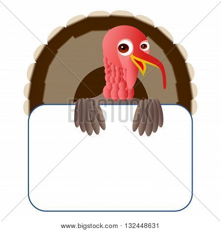 Clipart picture of a turkey cartoon character holding a blank board.