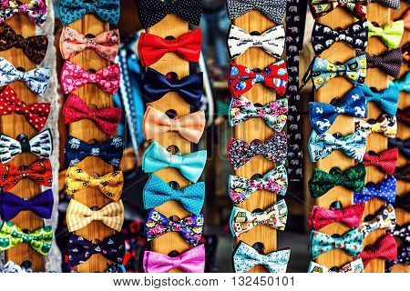 Set of bow-ties. Collection set of colorful ribbon bows on the market.