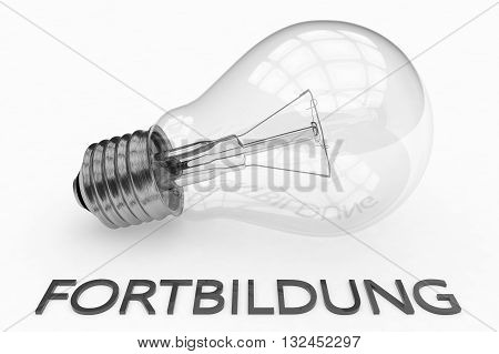 Fortbildung - german word for further education - lightbulb on white background with text under it. 3d render illustration.