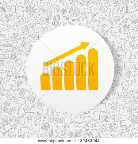 hand drawn simple elements with business paper sticker graph shadow