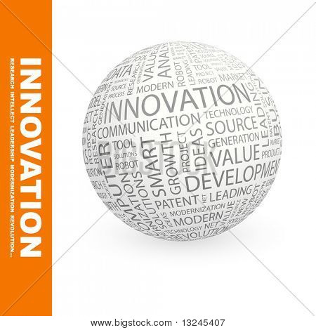 INNOVATION. Globe with different association terms.