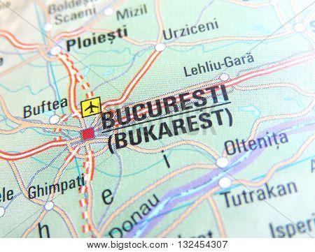 Map with focus set on Bucuresti, Romania.