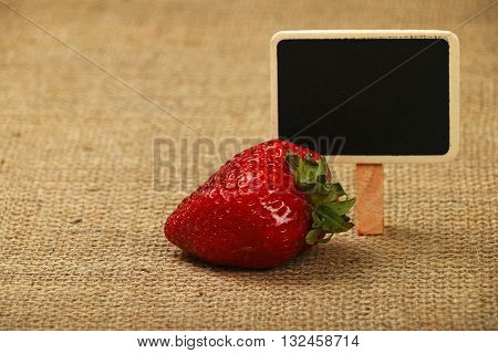 One Big Strawberry With Price Sign On Canvas