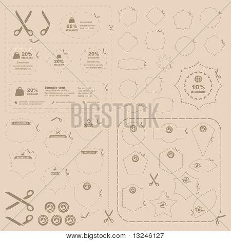 Vector scissors with cut lines