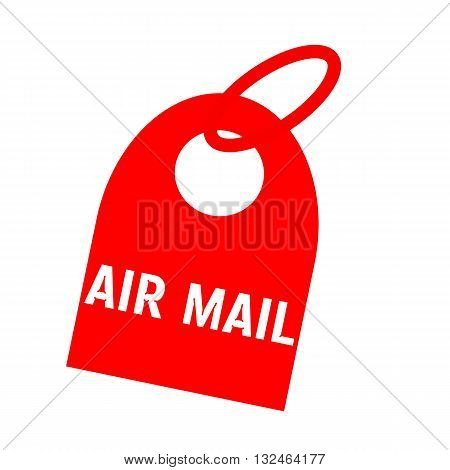 AIR MAIL white wording on background red key chain