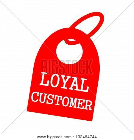 LOYAL CUSTOMER white wording on background red key chain
