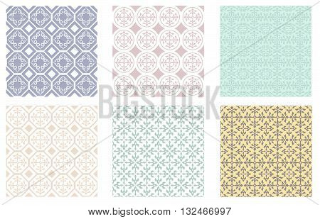 Set of seamless patterns of unsaturated colors, Arabic style. Swatches are included.