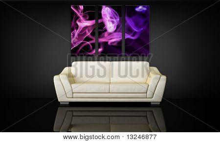 Sofa And Decorative Canvas Panel
