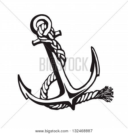 Vector handdrawn illustration. Black anchore on white background. Sailing equipement symbol. Tattoo design.