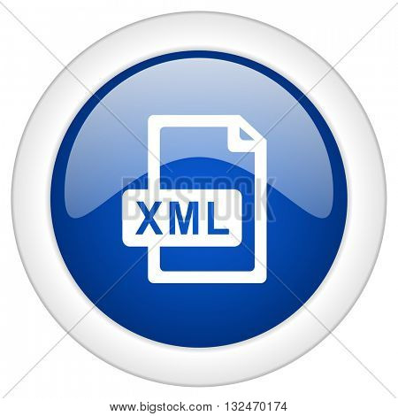xml file icon, circle blue glossy internet button, web and mobile app illustration