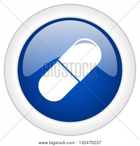 drugs icon, circle blue glossy internet button, web and mobile app illustration