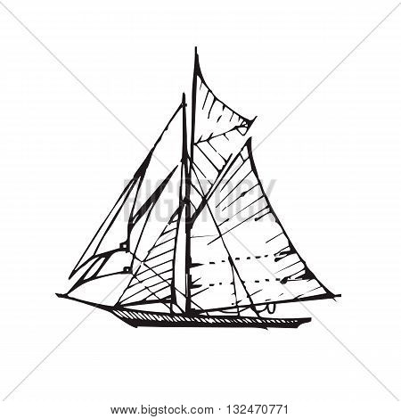 Vector handdrawn illustration. Black sail boat on white background.
