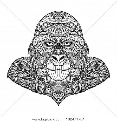 Clean lines doodle art design of Gorilla head for T-Shirt Graphic and adult coloring book