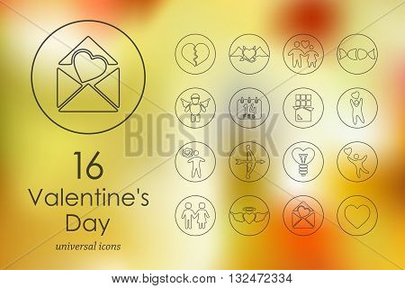 Valentineys Day modern icons for mobile interface on blurred background