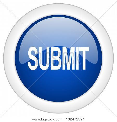 submit icon, circle blue glossy internet button, web and mobile app illustration