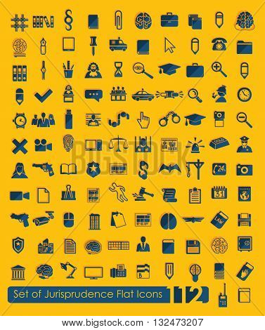 It is a illustration Set of jurisprudence icons