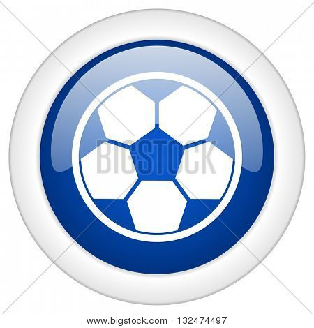 soccer icon, circle blue glossy internet button, web and mobile app illustration