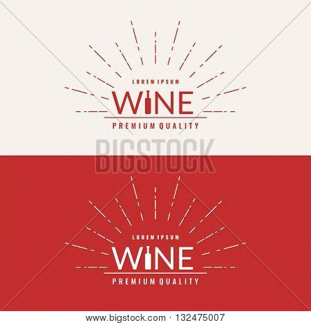 Vector illustrations set of wine sign in the form of words and a bottle of wine. For website design logo poster advertising