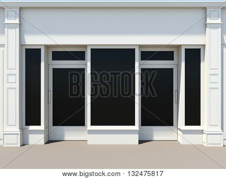 Shopfront with two doors and large windows. White store facade 3D rendering
