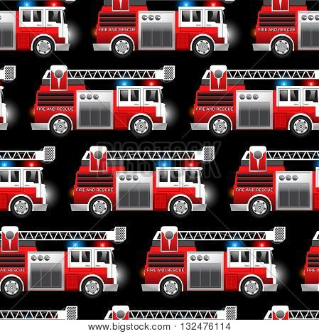 3D illustration of a Red Fire and Rescue truck seamless pattern .