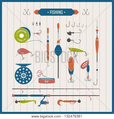 Set of vector elements of Fishing tackle in flat style. Fishing reel hooks float fishing line lures bait. Icons and illustration for design site poster advertisement on a light background.