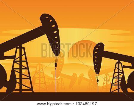 Oil Pump At Sunset