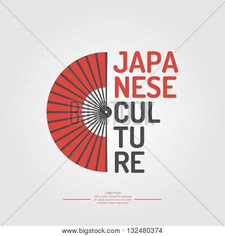 A poster with the text of the Japanese culture. The symbol of Japan - a fan on a white background in flat style. Vector illustration elements and icons for cards illustration poster and web design.