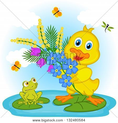 duckling with flowers - vector illustration, eps