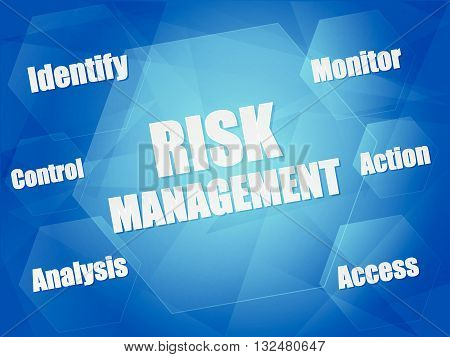 risk management - identify, control, analysis, monitor, action, access - business organization concept words in hexagons over blue background, flat design, vector