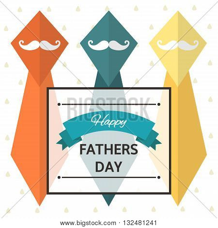 Cute flat style card postcard background for happy fathers day. Happy fathers day cover with colorful mustache father man text space banner